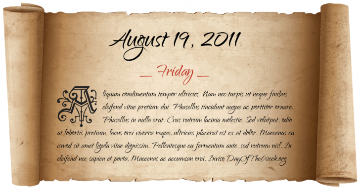 Friday August 19, 2011