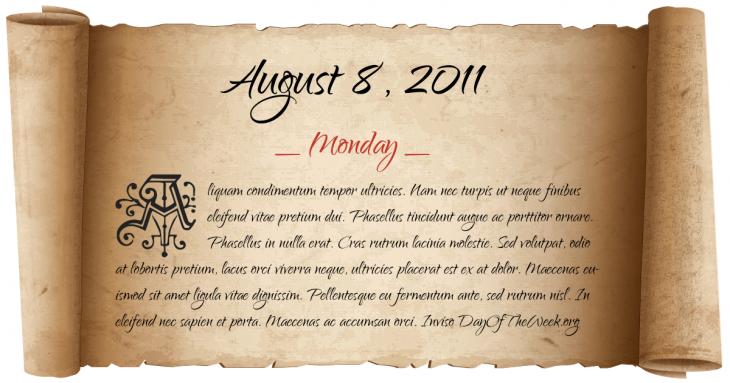 Monday August 8, 2011