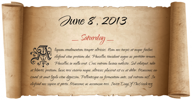 Saturday June 8, 2013