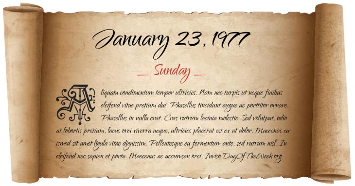 Sunday January 23, 1977