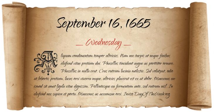 Wednesday September 16, 1665
