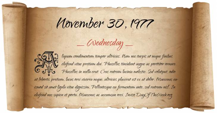 Wednesday November 30, 1977