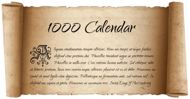 1000 Calendar