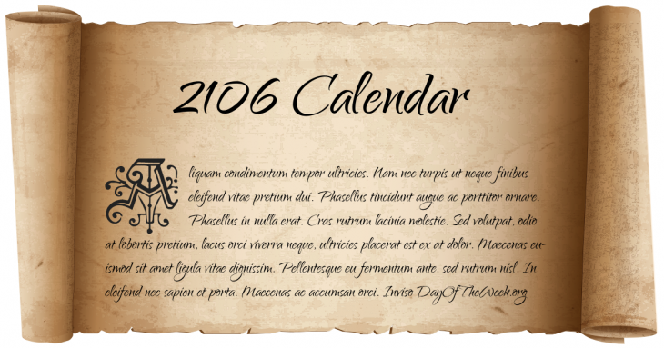 2106 calendar  what day of the week