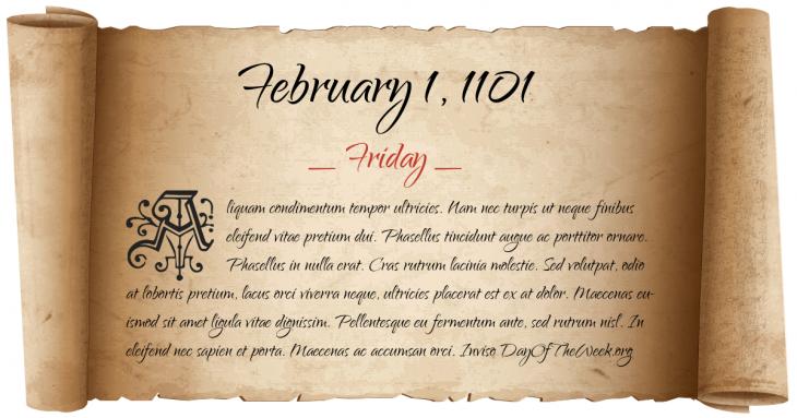 Friday February 1, 1101