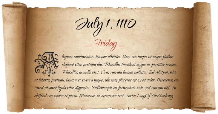 Friday July 1, 1110