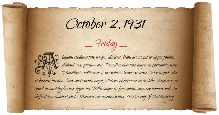 Friday October 2, 1931