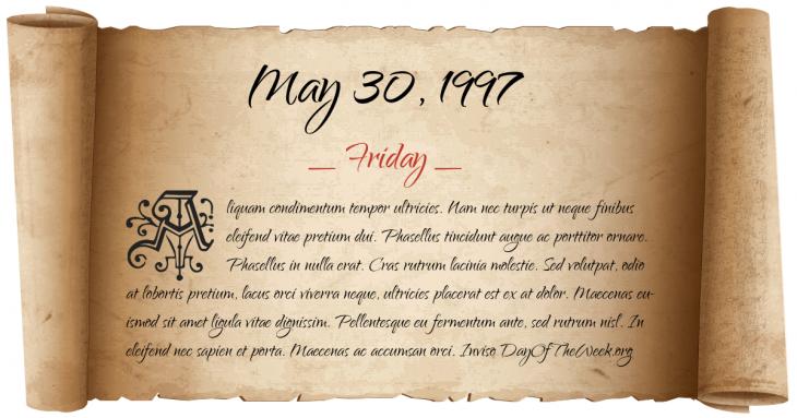 Friday May 30, 1997