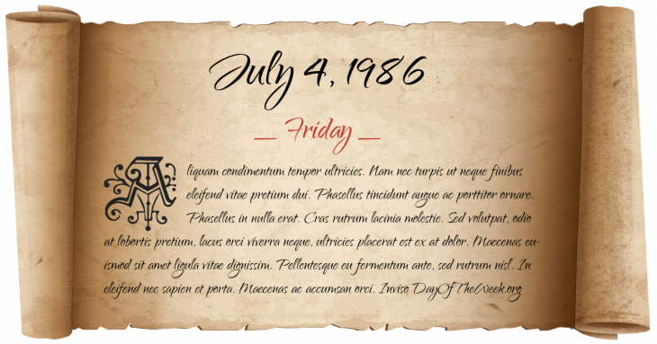 Friday July 4, 1986