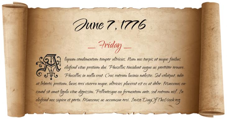 Friday June 7, 1776