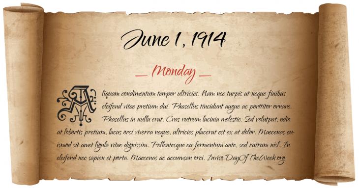 Monday June 1, 1914