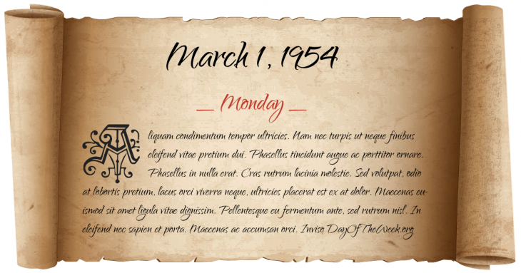 Monday March 1, 1954