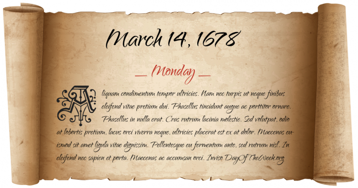 Monday March 14, 1678