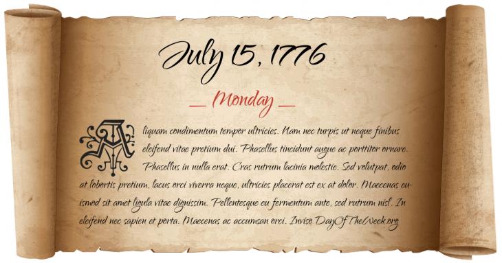 Monday July 15, 1776