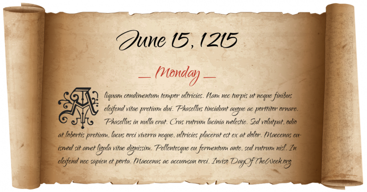 Monday June 15, 1215