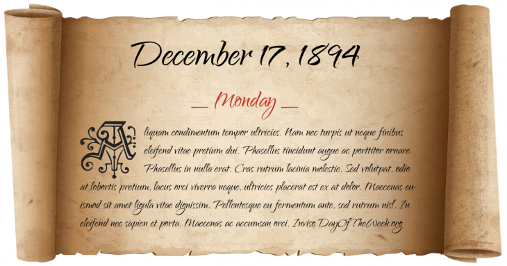 Monday December 17, 1894