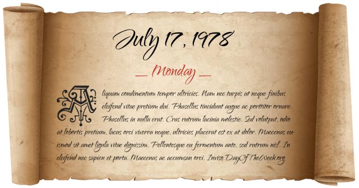 Monday July 17, 1978