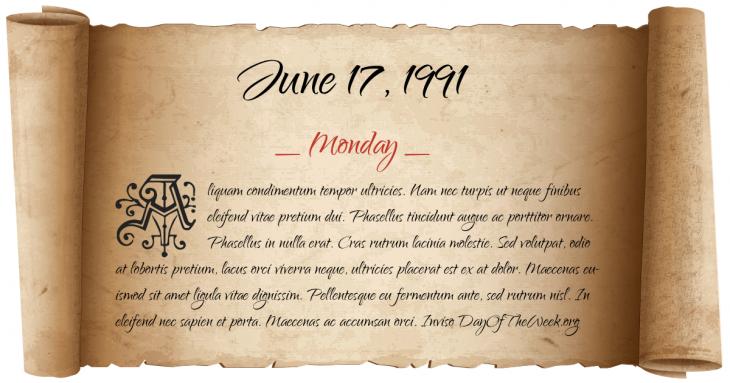 Monday June 17, 1991