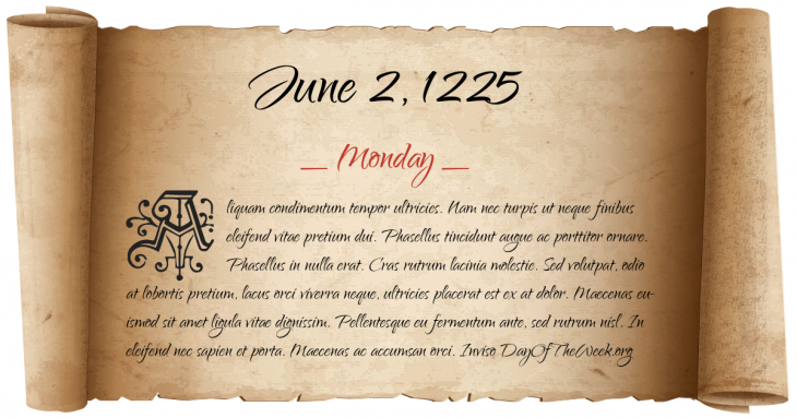 Monday June 2, 1225