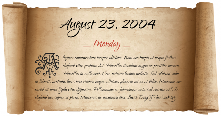 Monday August 23, 2004