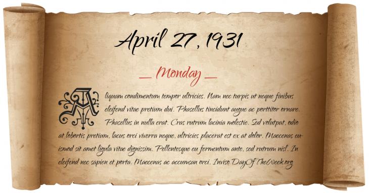 Monday April 27, 1931