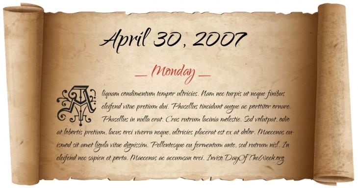 Monday April 30, 2007