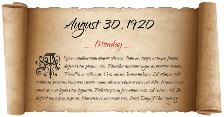 Monday August 30, 1920