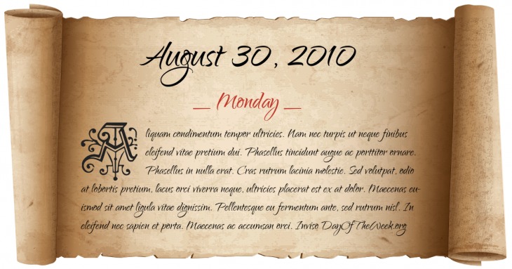 Monday August 30, 2010