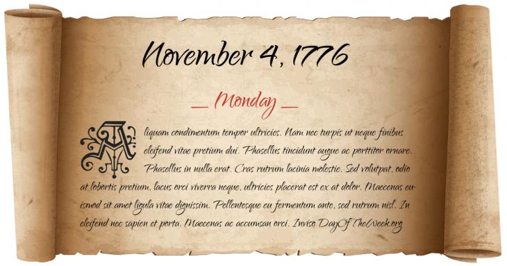 Monday November 4, 1776
