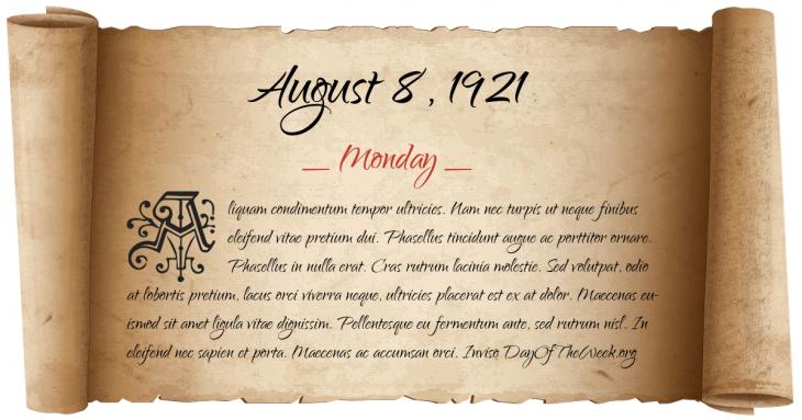 Monday August 8, 1921