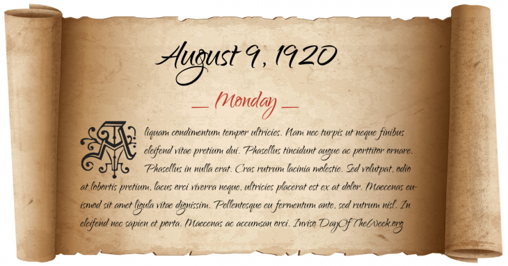 Monday August 9, 1920