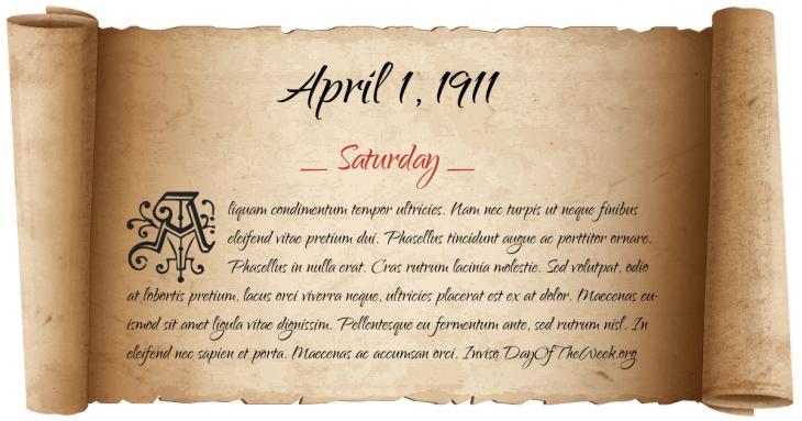 Saturday April 1, 1911