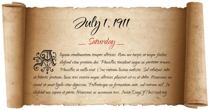 Saturday July 1, 1911