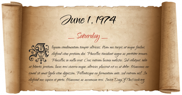 Saturday June 1, 1974