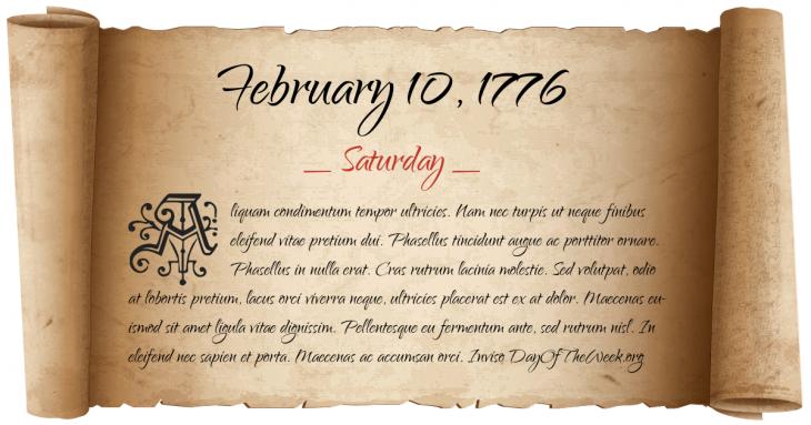 Saturday February 10, 1776