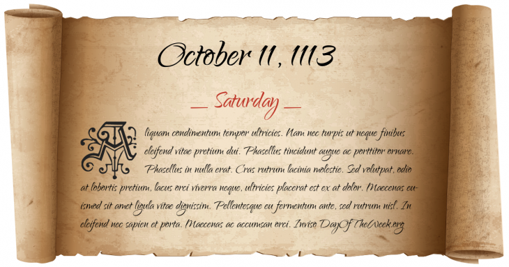 Saturday October 11, 1113