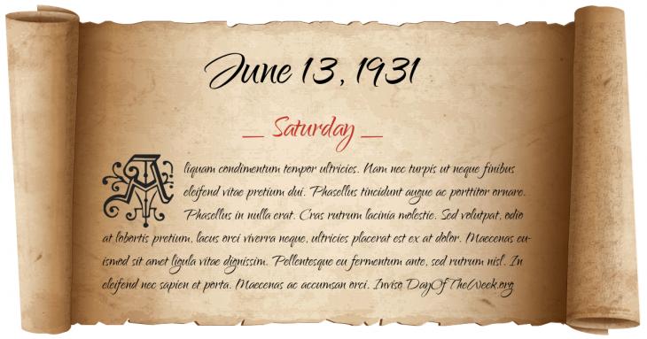 Saturday June 13, 1931