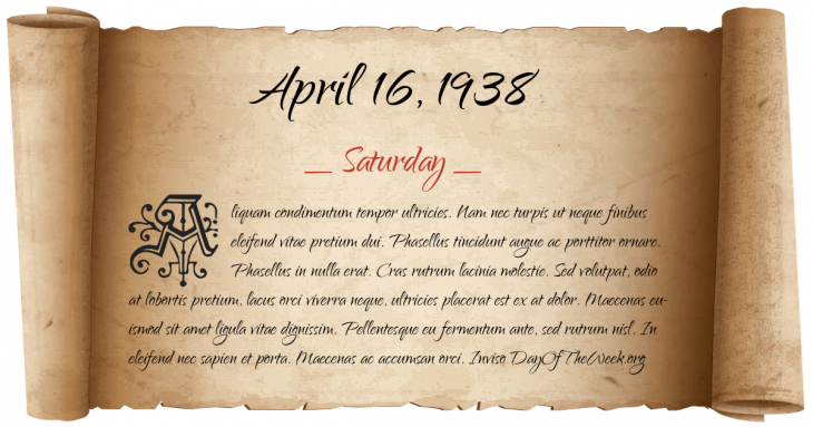 Saturday April 16, 1938