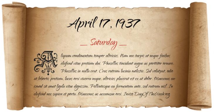 Saturday April 17, 1937