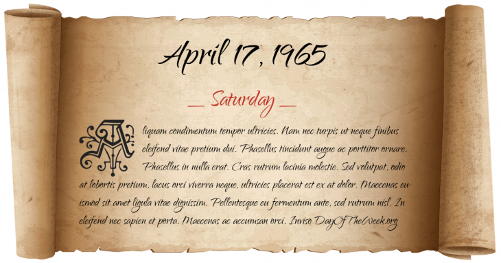 Saturday April 17, 1965
