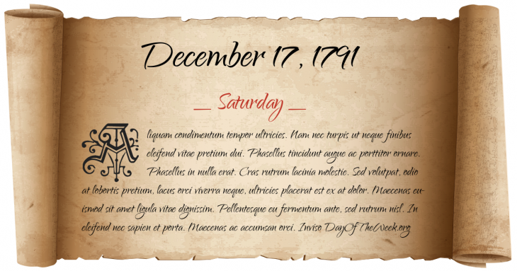 Saturday December 17, 1791