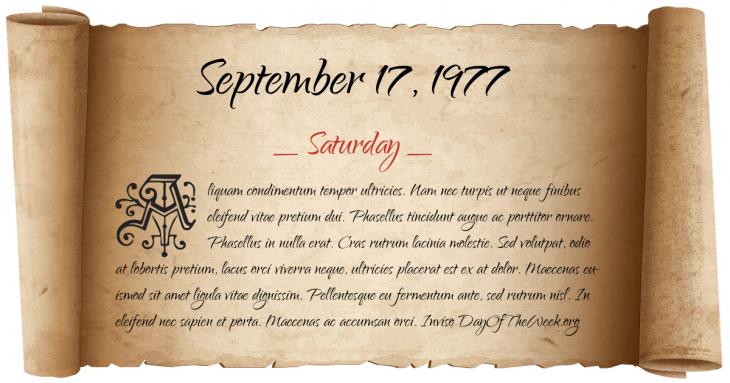 Saturday September 17, 1977