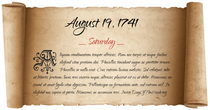 Saturday August 19, 1741