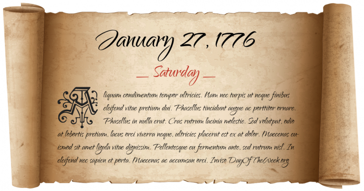 Saturday January 27, 1776