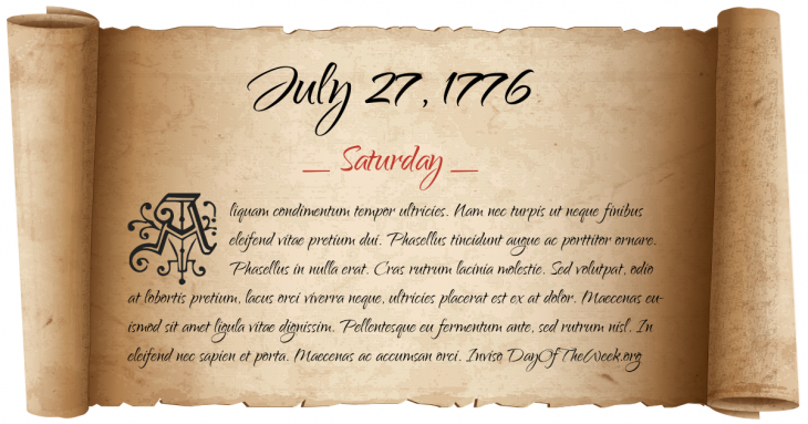 Saturday July 27, 1776