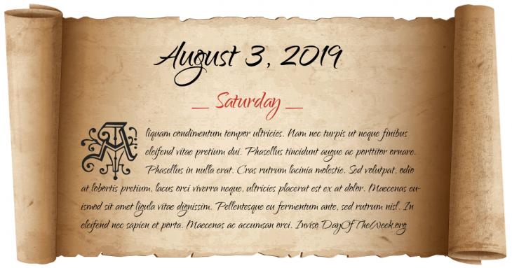 Saturday August 3, 2019
