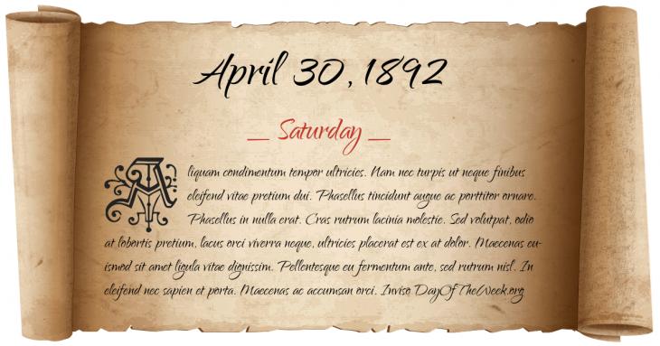 Saturday April 30, 1892