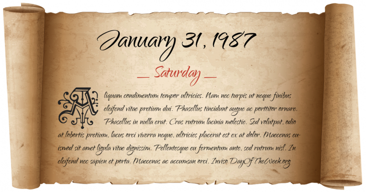 Saturday January 31, 1987