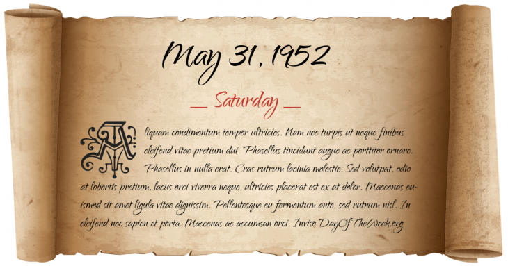 Saturday May 31, 1952