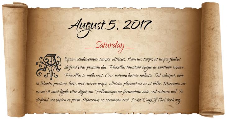 Saturday August 5, 2017